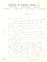 First page of Letter from Dr. Alphaeus Hunton to W. E. B. Du Bois