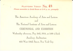 First page of Ticket and Program to the American Academy and National Institute of Arts             and Literature Annual Ceremonial