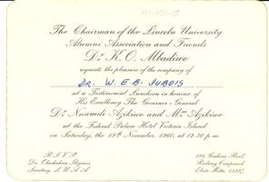 First page of Invitation from Lincoln University National Alumni Association to W. E. B. Du Bois