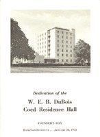 First page of W. E. B. Du Bois residence hall dedication program