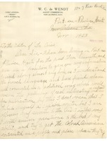 First page of Letter from Bertha V. De Wendt to the editor of the Crisis