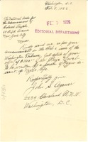 First page of Letter from John S. Agenor to Crisis