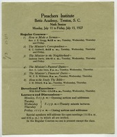 First page of Preachers Institute flier