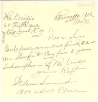 First page of Letter from Wilson Saumth to Crisis