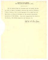 First page of Report of the Crisis for the month of February, 1932