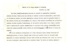 First page of Report to the Ghana Academy of Sciences