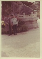 First page of W. E. B. Du Bois standing with unidentified woman in the Summer Palace, Beijing,         China