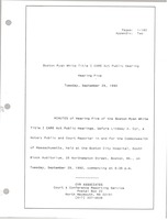 First page of Boston Ryan White title I CARE act public hearing Hearing five