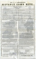 First page of Rev. L. L. Langstroth's / Movable Comb Hive / Patented October 5, 1852