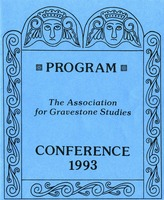 First page of The  Association for Gravestone Studies, 16th conference and annual meeting Connecticut College, New London, Connecticut, June 24-27, 1993 / Co-sponsored by the             New London County Historical Society and New London Landmarks, Inc.