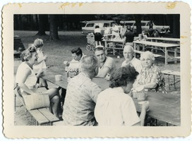 First page of People enjoying lunch at a picnic table, Rodney Hunt Company outing, Pine Beach Rodney Hunt Company annual employee outing