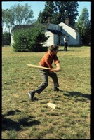 First page of Young man at bat, playing baseball at the picnic, Pine Beach Rodney Hunt Company annual employee outing