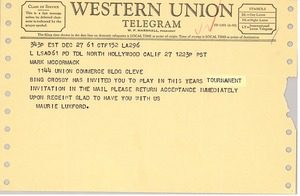 First page of Telegram from Maurie Luxford to Mark H. McCormack