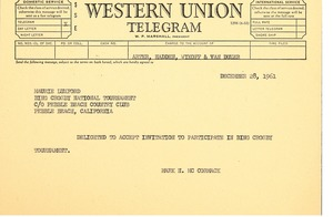 First page of Telegram from Mark H. McCormack to Maurie Luxford