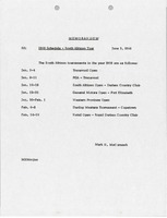 First page of Memorandum concerning 1969 Schedule, South African Tour