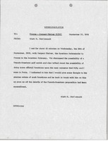 First page of Memorandum from Mark H. McCormack concerning France and Sargent Shriver