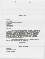 First page of Letter from Mark H. McCormack to Urlwin International Advertising Ltd.