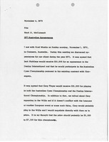 First page of Memorandum from Mark H. McCormack concerning 1971 Australian appearances