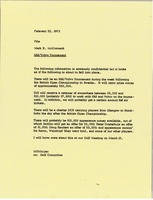 First page of Memorandum from Mark H. McCormack to SAS Volvo tournament file