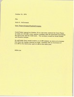 First page of Memorandum from Mark H. McCormack to Gary Player Colgate Penfold Craigton file