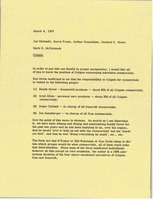 First page of Memorandum from Mark H. McCormack to Jay Michaels, Barry Frank, Arthur             Rosenblum, and Richard E. Moore