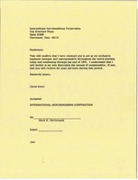 First page of Letter from Chris Evert to International Merchandising Corporation