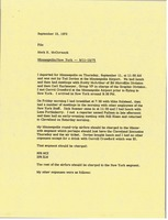 First page of Memorandum from Mark H. McCormack concerning his trips to Minneapolis and New York from September 11 to 13, 1975