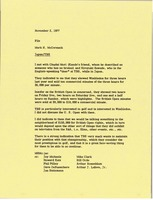 First page of Memorandum from Mark H. McCormack to Japan Tokai Television Broadcasting             Corporation file