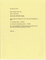 First page of Memorandum from Mark H. McCormack to United States Golf Association working papers file