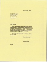 First page of Letter from Arnold Palmer to Herwig Zahm