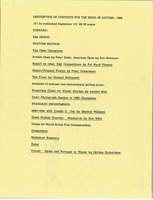 First page of Description of contents for the issue of autumn, 1980