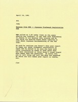 First page of Memorandum from Judy A. Chilcote to Arthur J. Lafave, Jr.
