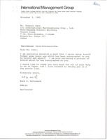 First page of Letter from Mark H. McCormack to Tetsuji Sato