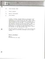 First page of Memorandum from Mark H. McCormack to Peter Johnson