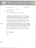 First page of Memorandum from Mark H. McCormack to Arthur Rosenblum and Peter German