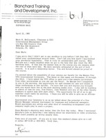 First page of Letter from Ken Blanchard to Mark H. McCormack