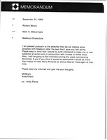 First page of Memorandum from Mark H. McCormack to Richard Moore