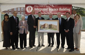 First page of Groundbreaking of the Integrated Science Building, UMass Amherst Group includes (left to right): Randolph W. Bromery (2d from left), Congressman John W.             Olver (4th), Jack Wilson (5th), John Lombardi (6th), Ted Kennedy (7th), and Richard Neal (8th)
