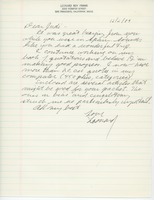 First page of Letter from Leonard Roy Frank to Judi Chamberlin