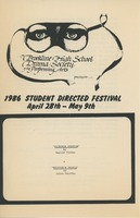 First page of 1986 Student Directed Festival program