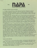 First page of NAPA Fall 1984 newsletter