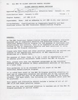 First page of Memorandum from Elmer C. Bartels to MRC VR client services manual holders