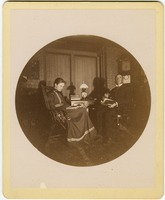 First page of Abby F. Blanchard and C. P. Blanchard, reading at a table in the parlor