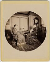 First page of Abby F. Blanchard and Annie Blanchard (l. to r.) seated in the parlor