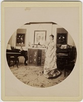 First page of Abby F. Blanchard in the parlor, with fan and kimono