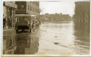 First page of Aftermath of the great Hartford Flood Flooding in front of the Automobile Club of Hartford (162 Wells Street)