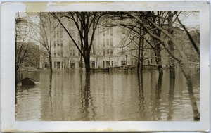 First page of Aftermath of the great Hartford Flood Flooding at edge of Bushnell Park (corner of Trumbull and Jewell Streets)
