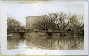 First page of Aftermath of the great Hartford Flood People on a bridge looking over floodwaters (Bushnell Park near Trumbull and          Jewell Streets)