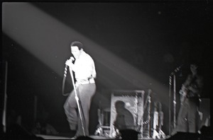 First page of Richard Nader's Rock and Roll Revival concert at the Springfield Civic Center:             Chubby Checker in performance (washed out)