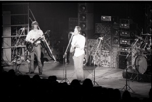 First page of Grateful Dead concert at Springfield Civic Center: band in performance: Phil             Lesh and Bob Weir (l. to r.)